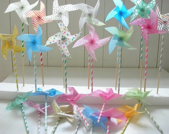 Paper pinwheels 6 pieces. Parchment paper pinwheels. Different colors wedding-birth, children's party