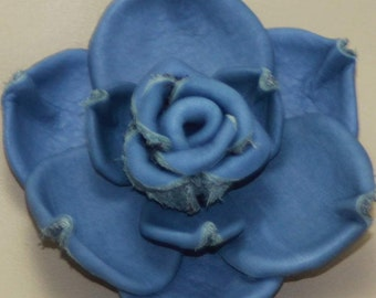 Leather Rose Brooch in blue leather.