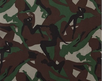 Fat Quarter - Alexander Henry Pin Up Camouflage Girls Fabric 6205A Army Green