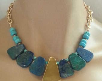 40% Off Bib Necklace Azurite Pyrite Statement Necklace with Turquoise Accents on Textured Gold Chain Bohemian Chic