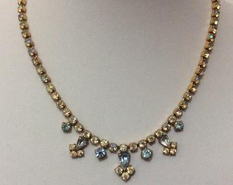 Vintage 1950's blue aurora borealis rhinestone necklace