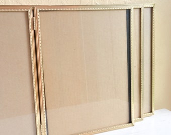 Three 3 Matching Folding 8x10 Gold Metal Picture Frames with Glass Wedding Decor Family Pictures Hollywood Regency