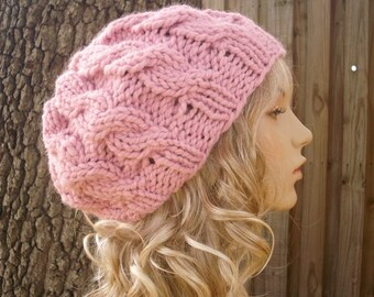 Knit Hat Womens Hat - Pink Cable Beret Hat in Blossom Pink Knit Hat - Pink Hat Pink Beret Pink Beanie Womens Accessories