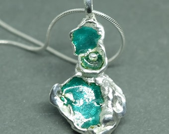999 Fine SIlver, Japanese Enamelled, Watercast Pendant with Sterloing Silver chain