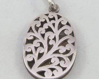 Double sided sterling silver wood oval pendant