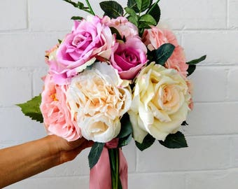 Pink Garden Wedding Bouquet Silk Bridal Flowers with Roses, Hydrangea, Peonies and Rosebuds