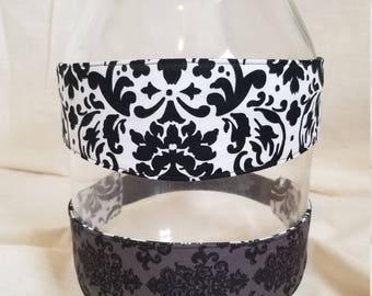 Reversible Headband -white and black pattern/gray and black pattern
