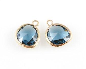 2pcs Montana Blue Faceted Glass Charm in Gold, Framed Drop Glass Gem / Birthstone / September / Sapphire / 13mm x 16mm / GMBG-004-P (Medium)