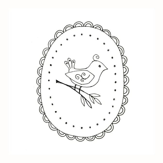 Bird Embroidery Pattern Woodland Animal Digital Downloadable Pdf