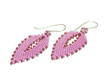 dangle earrings,watermelon pink dangle earrings,sterling silver ear wires,beaded pink dangle earrings,pink and red jewelry,earrings jewelry