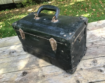 Vintage Fibre, Steel and Leather Case. Toolbox, Artbox