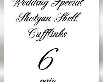 Nickel Winchester Shotgun Shell 12 Gauge Cufflinks Wedding 6 Pair