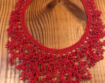 Vintage Red Bib Necklace //Red Snowflake Necklace//Made to Order Necklace