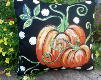 Patio Furniture Fall Pillows, Fall Pillow Covers, Orange Pumpkin and Vines, Fall Pumpkin Pillows, Porch Decor, Black, Pillow Cover