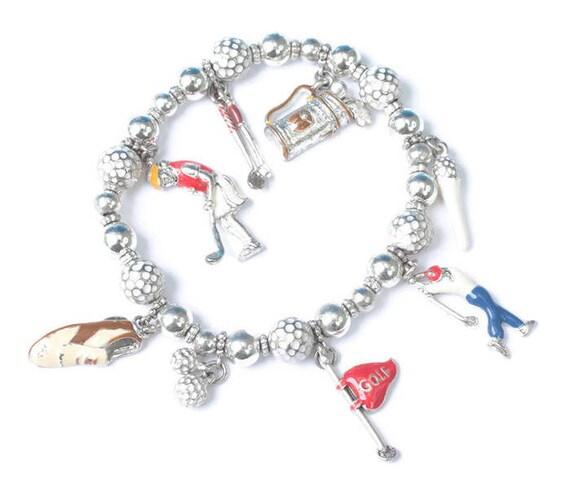 Lady Golfer Stretch Charm Bracelet 8 Enameled Charms Silver Tone Vintage