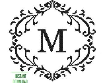 Instant Download Cross Stitch Monogram Pattern black Monogram Initial Alphabet M letter M Gift Home Decor House Warming Wedding Anniversary