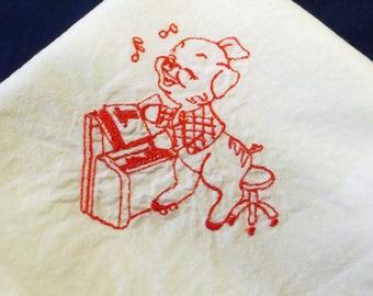Flour Sack Towel- Piano Pig Redwork