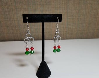 Chandalier style drop chainmail earrings, accented with red and green glass beads
