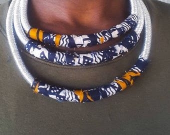 Silver and African Fabric Print Accent Necklace