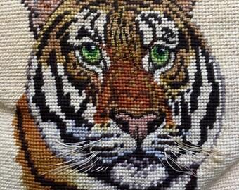 Vintage needlepoint tiger pillow