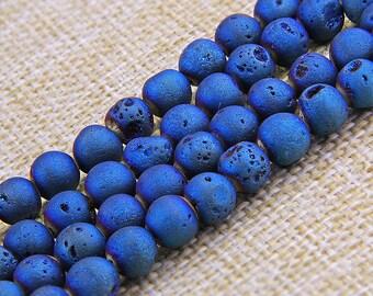 "Blue Druzy Agate Beads , Gemstone Beads , Geode Beads , Natural Agate Beads ,  Matte Druzy Beads Supply (size 6/8/10/12mm) 15"" Strand"