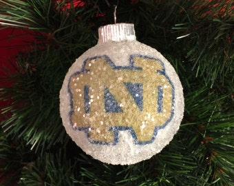 Notre Dame glass glitter ornament