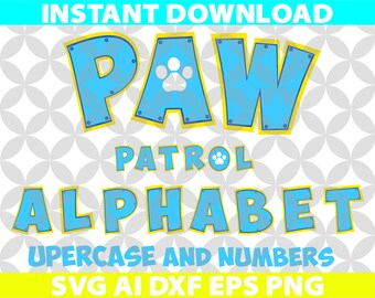 Paw Patrol Color Letters Alphabet SVG Ai Png Eps Dxf Cut Cutting Birthday Invitation Logo Team Movie Digital Download Cricut