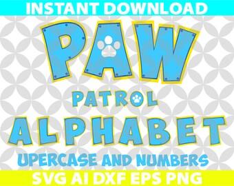 Good Paw Patrol Color Letters Alphabet SVG Ai Png Eps Dxf Cut Cutting Birthday  Invitation Logo Team Movie Digital Download Cricut