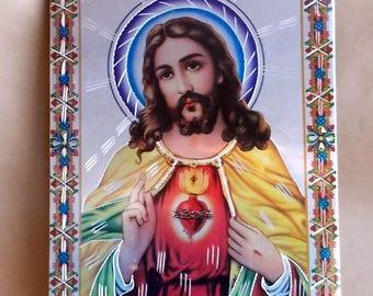 Sacred Heart of Jesus Modern Day Retablo Metal