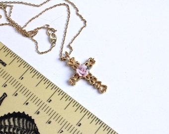 Vintage Avon Shabby Chic  Cross  Necklace  with porcelain  Pink Rose Flower # 1386/14