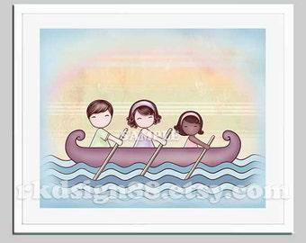 Family portrait, adoption art for children decor, Stronger 8 x10 parents brown hair African girl, baby nursery girl room decor