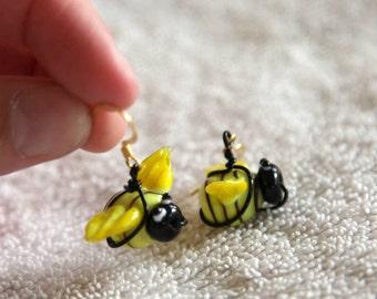 Glass Bumblebee Earrings