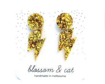 Wam Bam Earring! Super Glitter Gold Lightning Bolt Earring · Lightning Bolt Earring · Bowie Inspired · Glam Rock