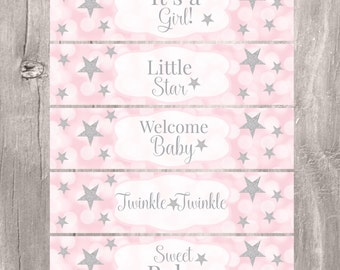 Pink Water Bottle Labels, Twinkle Twinkle Little Star Bottle Labels, Instant Download, Pink and Silver Baby Shower Labels Favors