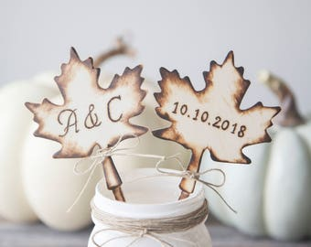 Fall Wedding Cake Topper Personalized Cake Topper Maple Leaf