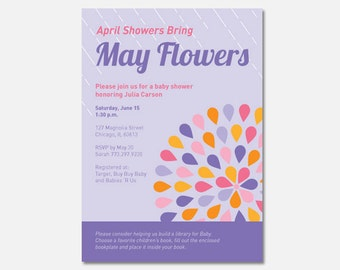 April Showers Bring May Flowers Baby Shower Invitation, Custom Invitation, Printable Baby Shower Invitation, Flying Pinwheel