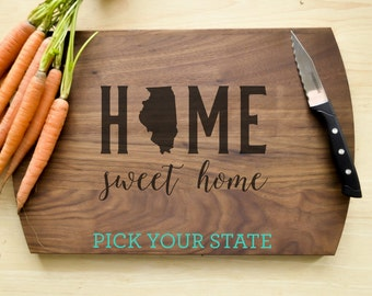 Personalized Cutting Board, Custom Cutting Board, Personalized Wedding Gift, Housewarming Gift, Home Cutting Board, State Cutting Board
