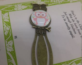 Owl - handmade 20mm cabochon owl bookmark with cute owl image