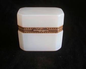 Vintage White Mounted Opaline Glass Jewelry / Bijouterie Box / Casket | France | 20th Century