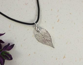 SALE Leaf Necklace, Silver Evergreen Leaf, Real Leaf Necklace, Silver Evergreen Leaf Pendant, SALE232