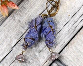 Cornflower/Lavendar  boho chic  sari silk dangle earrings