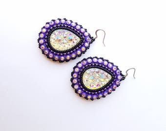 Purple & Black Native American Beaded Earrings