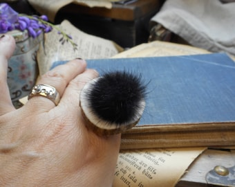 FOREST SPECTRE. Genuine Ash Black mink fur ball and Elk antler slice ring. Taxidermy couture . Unusual gift . gift wrapped. gift under 40
