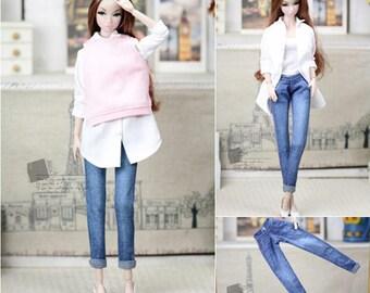 Blue Flanging Jeans for Momoko Fashion Royalty OB 1/6 Doll Nippon Poppyparper Dynamite Girls Jenny Pullip J-Doll Barbie Doll Accessories
