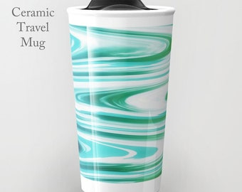 Ceramic Travel Mug-Funky Travel Mug-Coffee Tumbler-Ceramic Mug-12 oz Mug-To Go Mug-Insulated Coffee Mug-Insulated Travel Mug-Coastal Decor