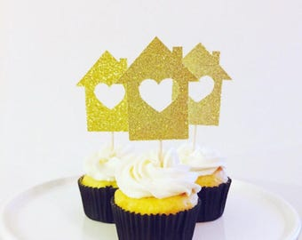 Housewarming Party Glitter cupcake toppers/ housewarming party glitter toppers/ housewarming party cupcake toppers/ set of 12