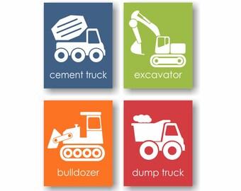 Construction Truck Wall Art, Little Boys Room, Construction Nursery, Cement Mixer, Excavator, Bulldozer, Dump Truck, Playroom Wall Art
