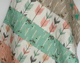 Baby Quilt, Girl, Woodland, Birch Deer Forest, Birch Trees, Mod, Coral, Mint, Gray, Baby Blanket, Baby Bedding, Crib Bedding, Nursery, Quilt