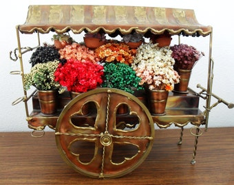 C.Hess 1973 Metal Copper & Brass Flower Cart With Flowers
