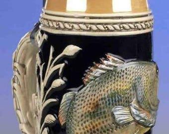 Ornithology beer jug-maritim-relief fish-fish-German beer Stein-Tin cap